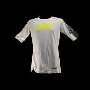White Nike Pro Dri-Fit Fitted Short Sleeve Shirt M